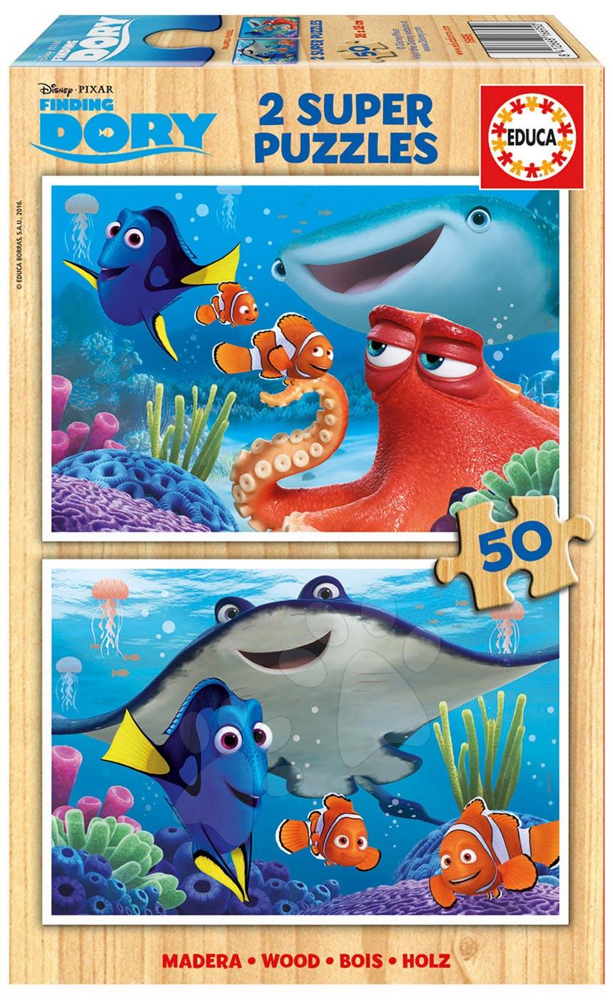 Drevené Disney puzzle - Drevené puzzle Hľadá sa Dory Educa 2x50 dielov od 5 rokov