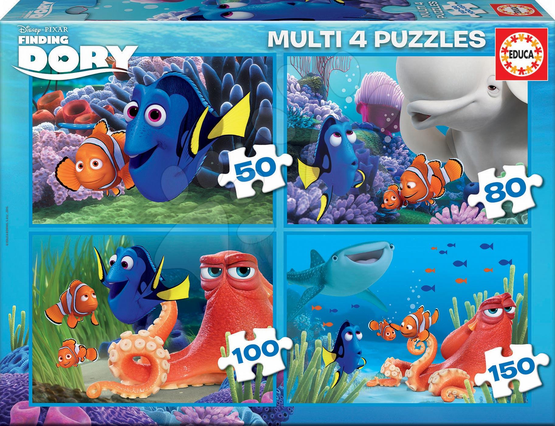Progresívne detské puzzle - Puzzle Hľadá sa Dory Educa 150-100-80-50 dielov, progresívne od 5 rokov