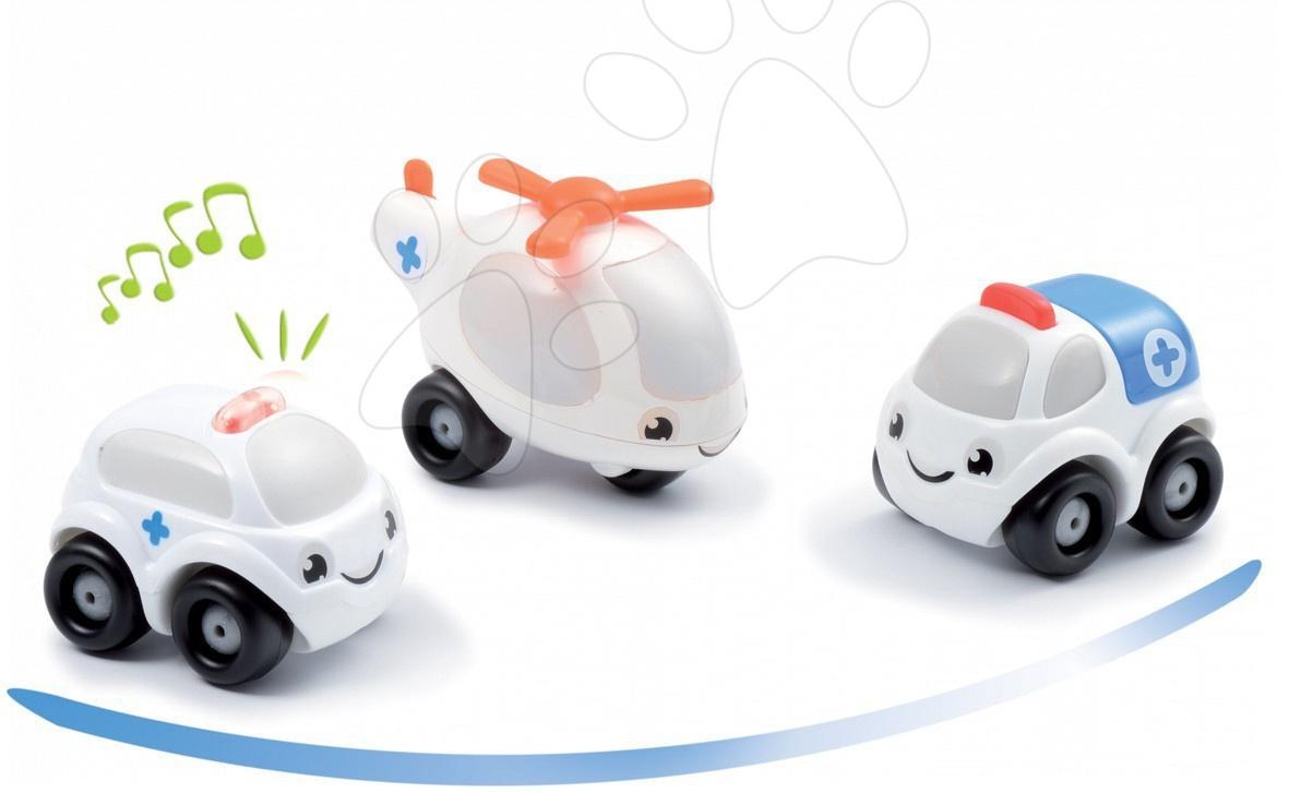 Záchranářská autíčka Vroom Planet Smoby elektronická 3 ks délka 7 cm od 12 měsíců
