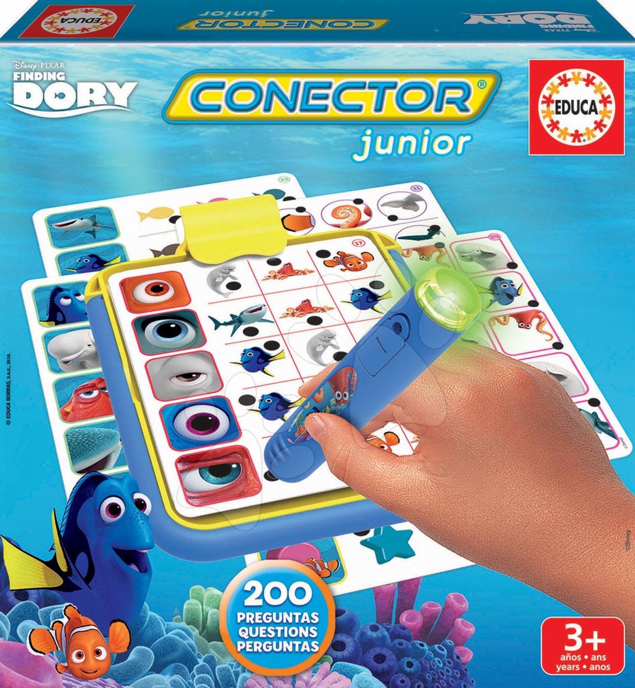 Cudzojazyčné spoločenské hry - Spoločenská hra Hľadá sa Dory Conector junior Educa 40 kariet a 200 otázok s inteligentným perom v angličtine
