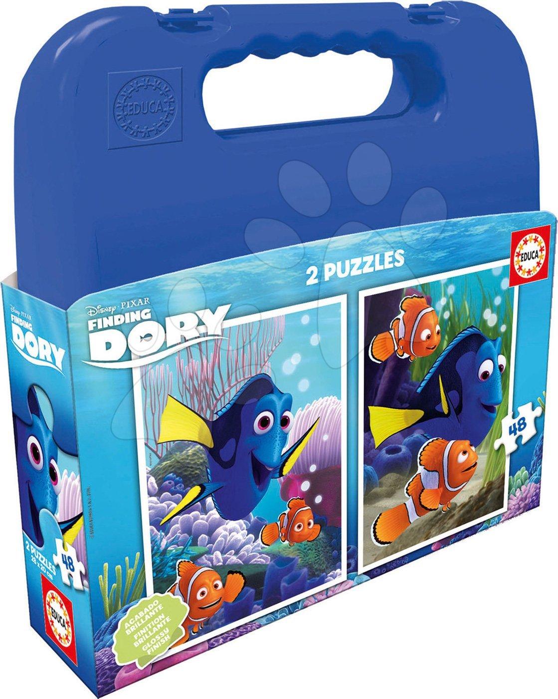 Detské puzzle do 100 dielov - Puzzle Hľadá sa Dory Educa v kufríku 2x 48 dielov
