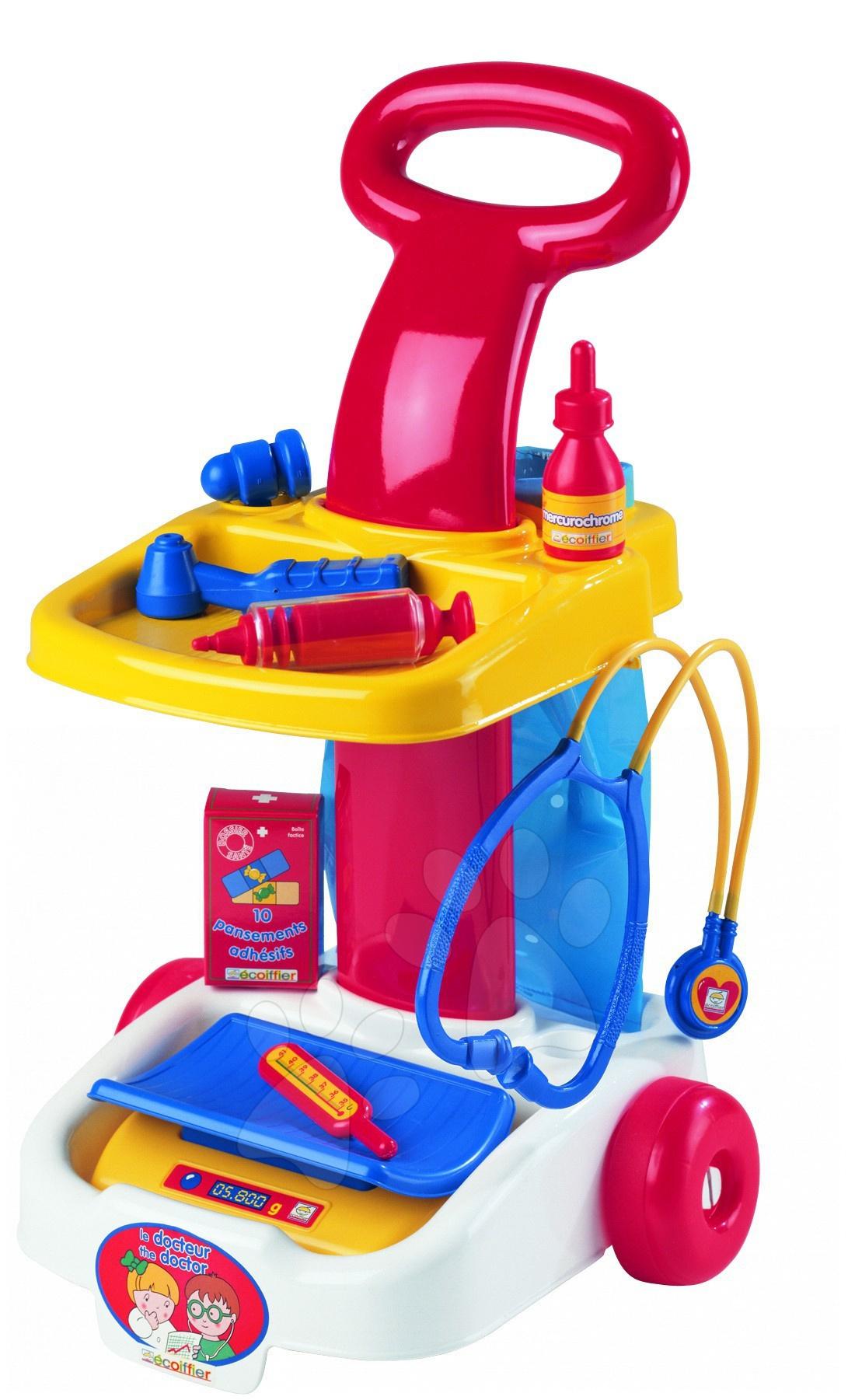 Lékařské vozíky pro děti - Lékařský vozík Écoiffier s váhou a 11 doplňky od 18 měsíců