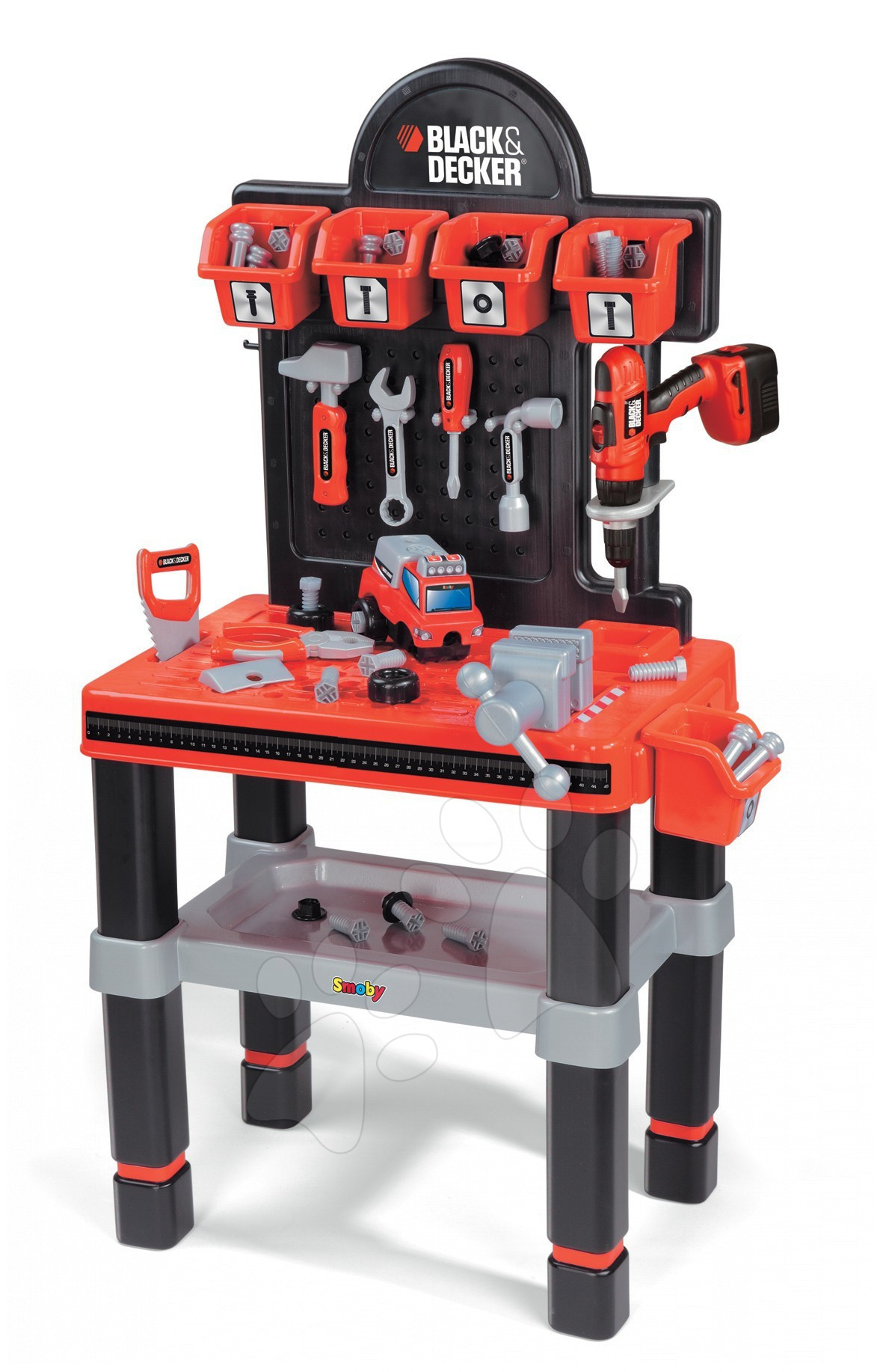 Staré položky - Pracovná dielňa Black&Decker Bricolo center Smoby s mechanickou vŕtačkou a 60 doplnkami
