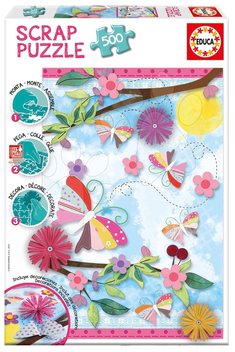 Educa Puzzle Scrap Garden Art 500 dielov + ozdoby na nalepenie 16738
