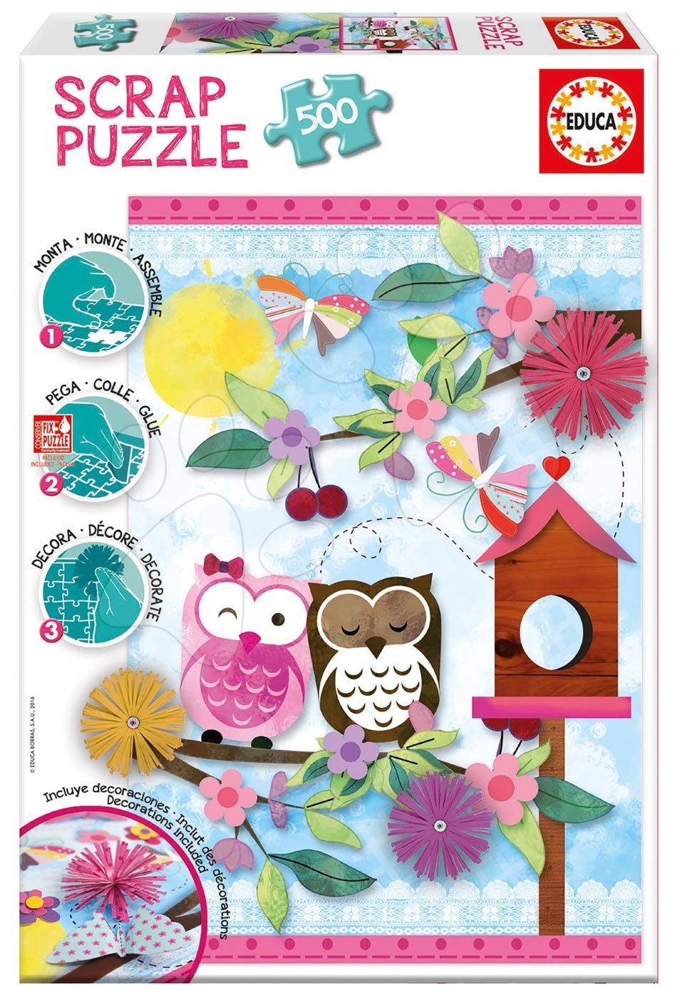 Puzzle 500 dielne - Puzzle Scrap Valentine Art Educa 500 dielov + ozdoby na nalepenie od 11 rokov