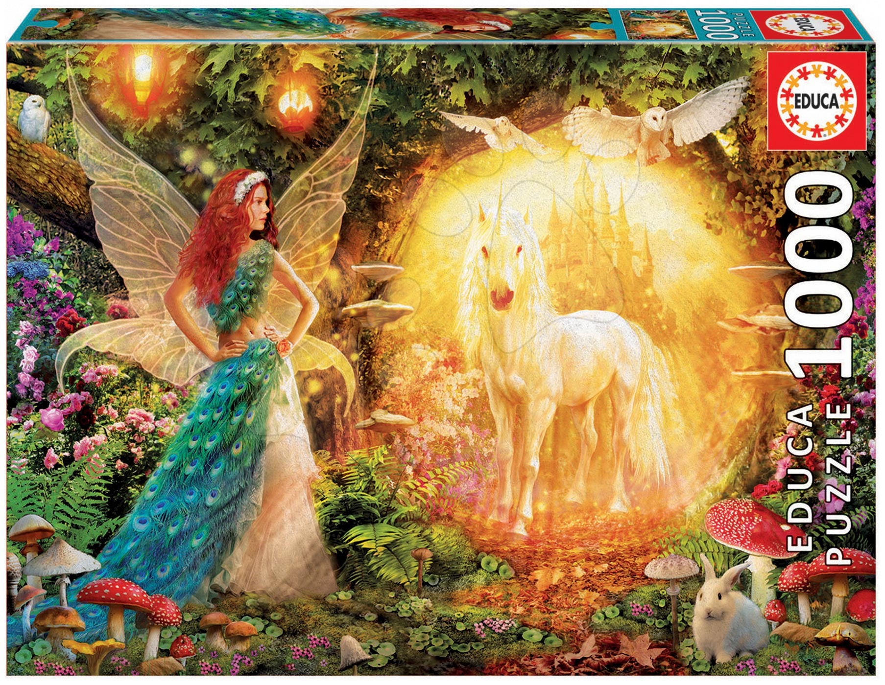 Puzzle 1000 dielne - Puzzle Genuine Peacock Feather Fairy Educa 1000 dielov od 12 rokov