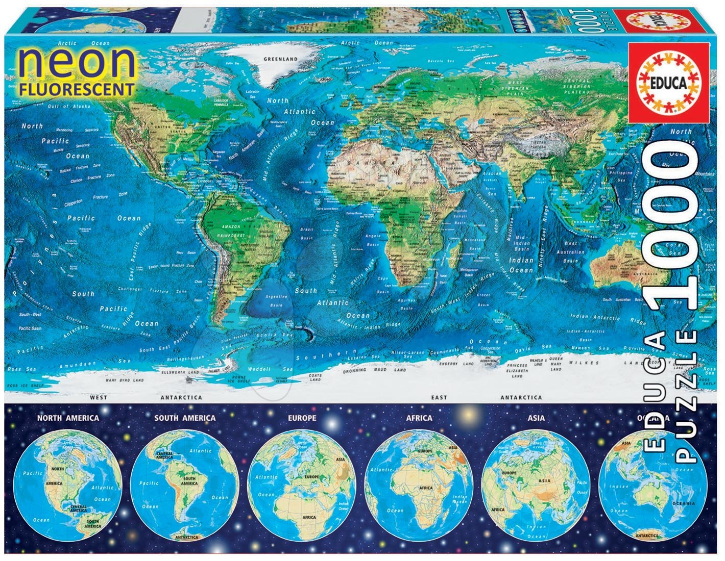 Svietiace puzzle  - Puzzle Neon Series, Neon World map Educa 1000 dielov od 12 rokov