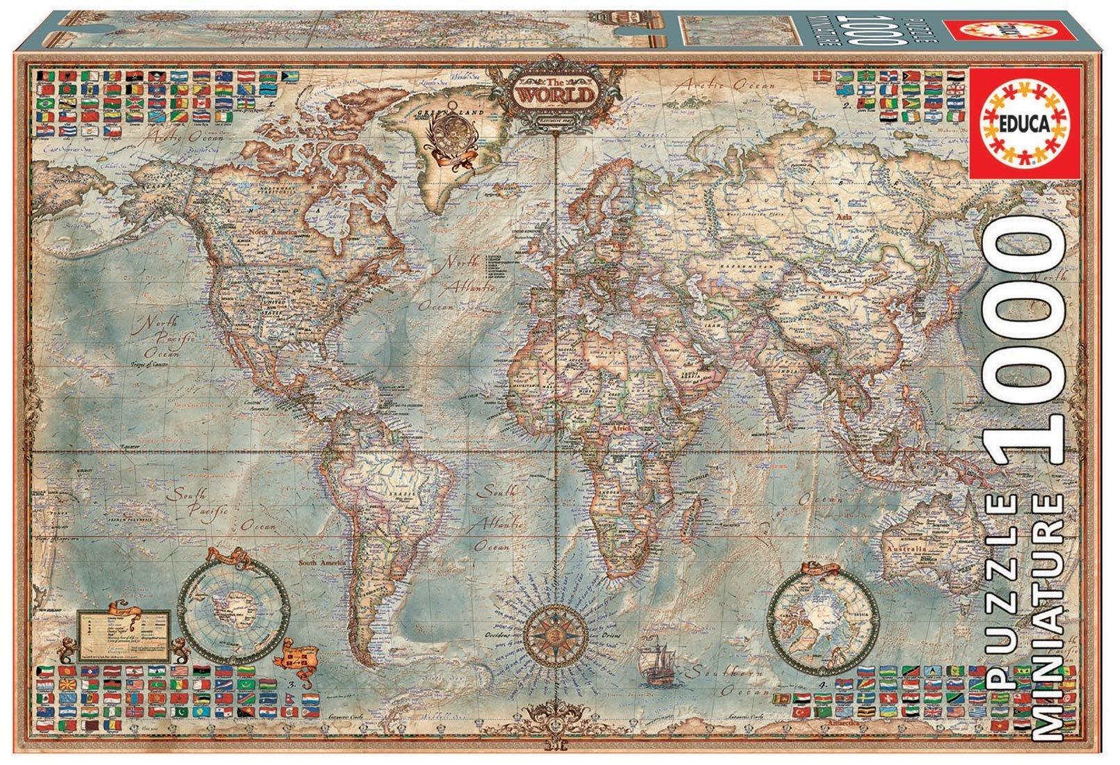 Puzzle miniatúrne - Puzzle Miniature series, O Mundo Political Map of the world Educa 1000 dielov od 12 rokov