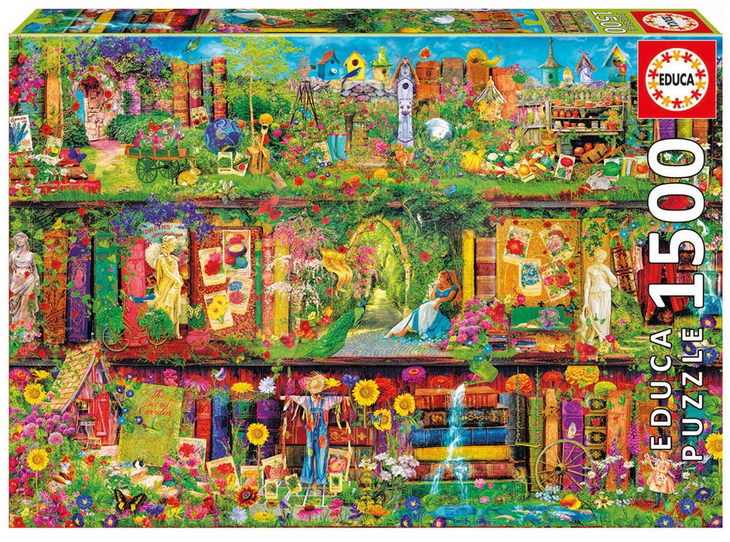 Puzzle 1500 dielne - Puzzle Genuine Záhradná knižnica Educa 1500 dielov