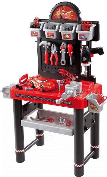 Staré položky - Pracovný stôl Autá Smoby s mechanickou vŕtačkou, autom a 81 doplnkami