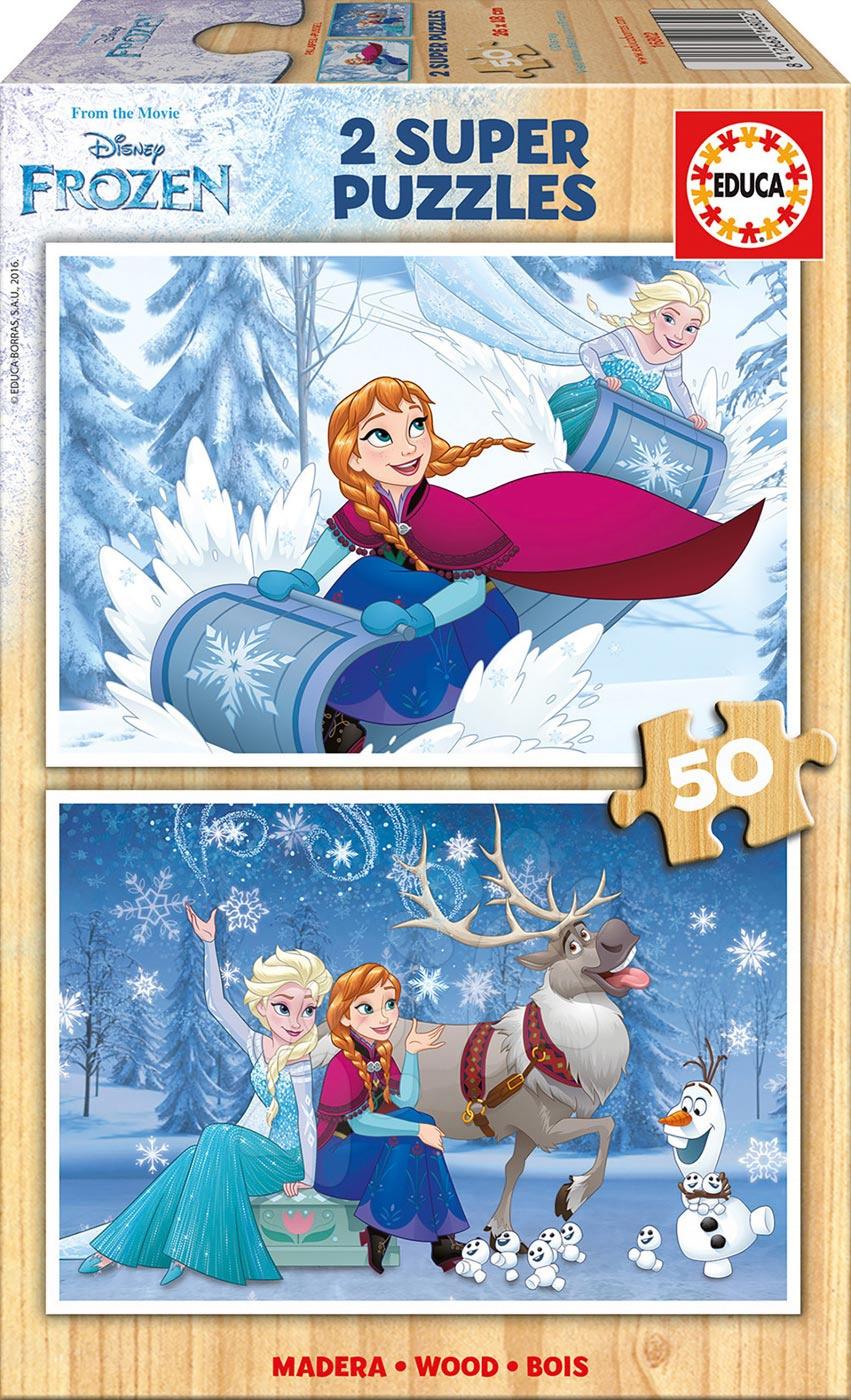 Drevené Disney puzzle - Drevené puzzle Frozen Educa 2x50 dielov od 5 rokov