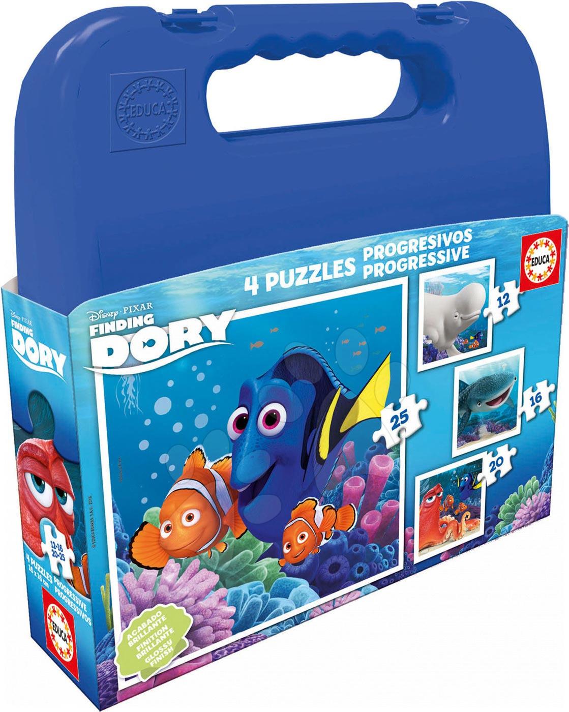 Progresívne detské puzzle - Puzzle v kufríku Hľadá sa Dory Educa progresívne, 12-16-20-25 dielikov