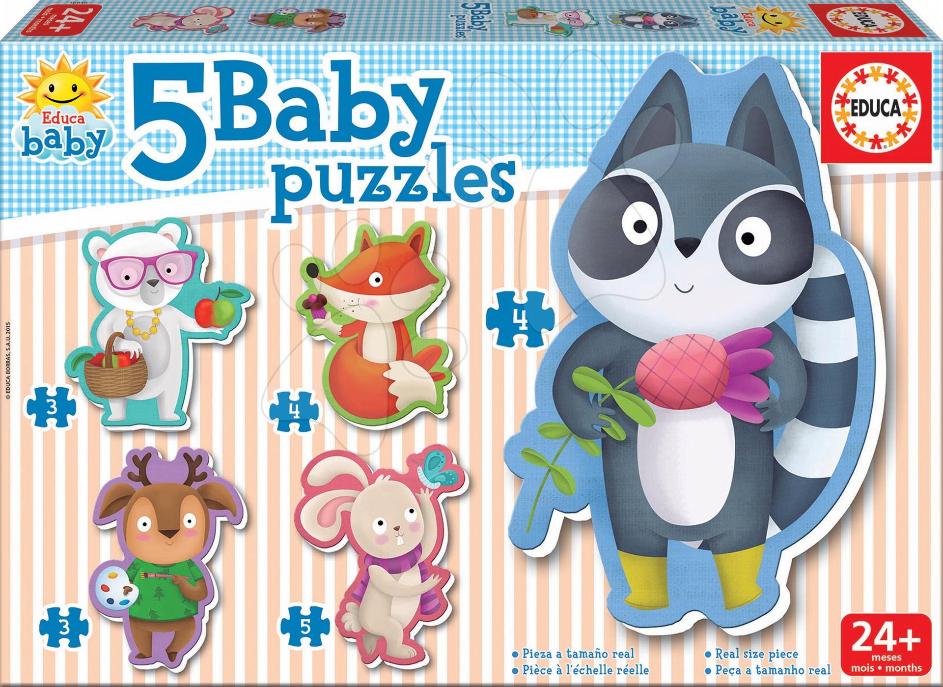 Puzzle pro nejmenší - Baby Puzzle Lesní zvířátka Educa 5obrázkové od 24 měsíců