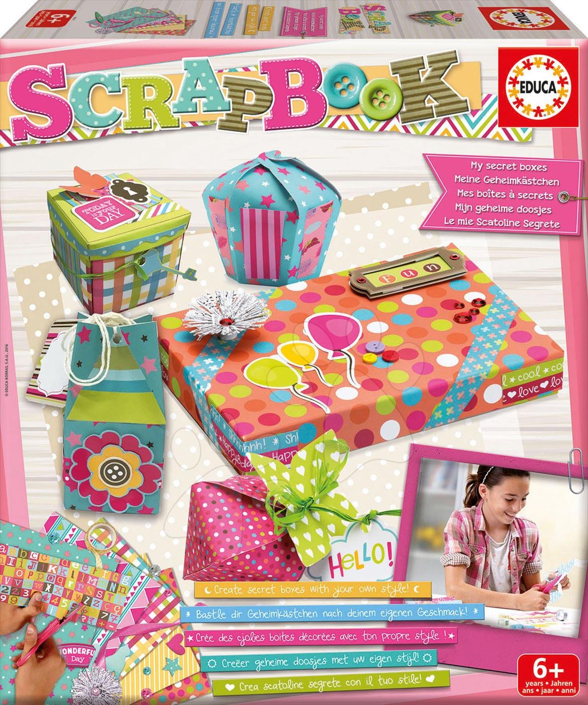 Ručné práce a tvorenie - Kreatívny set Scrapbook Moje tajné krabičky Educa pre šikovné ruky od 6 rokov