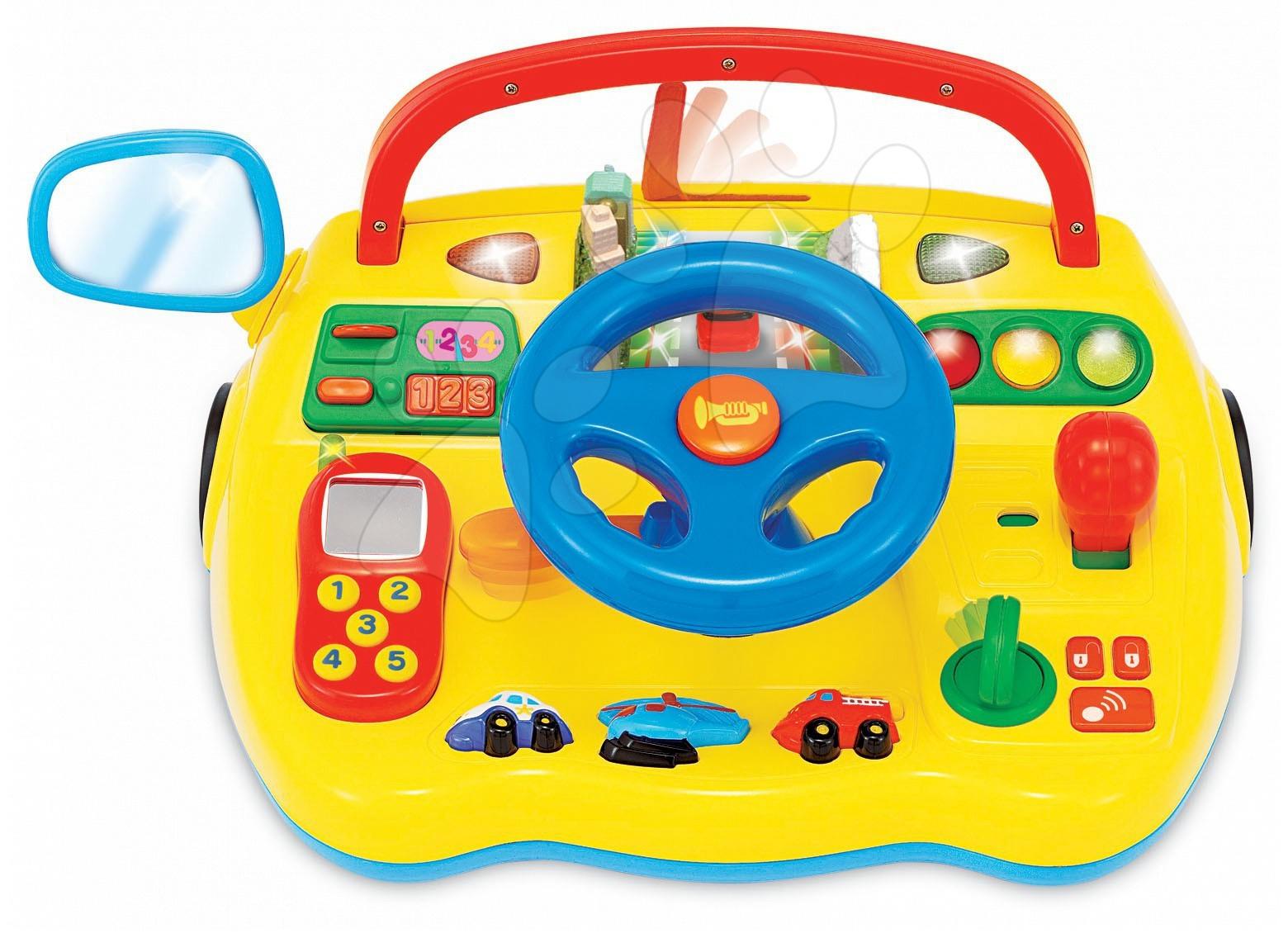 Hračky zvukové - Trenažér Activity Kiddieland s autíčkami so zvukom a svetlami žltý od 18 mes