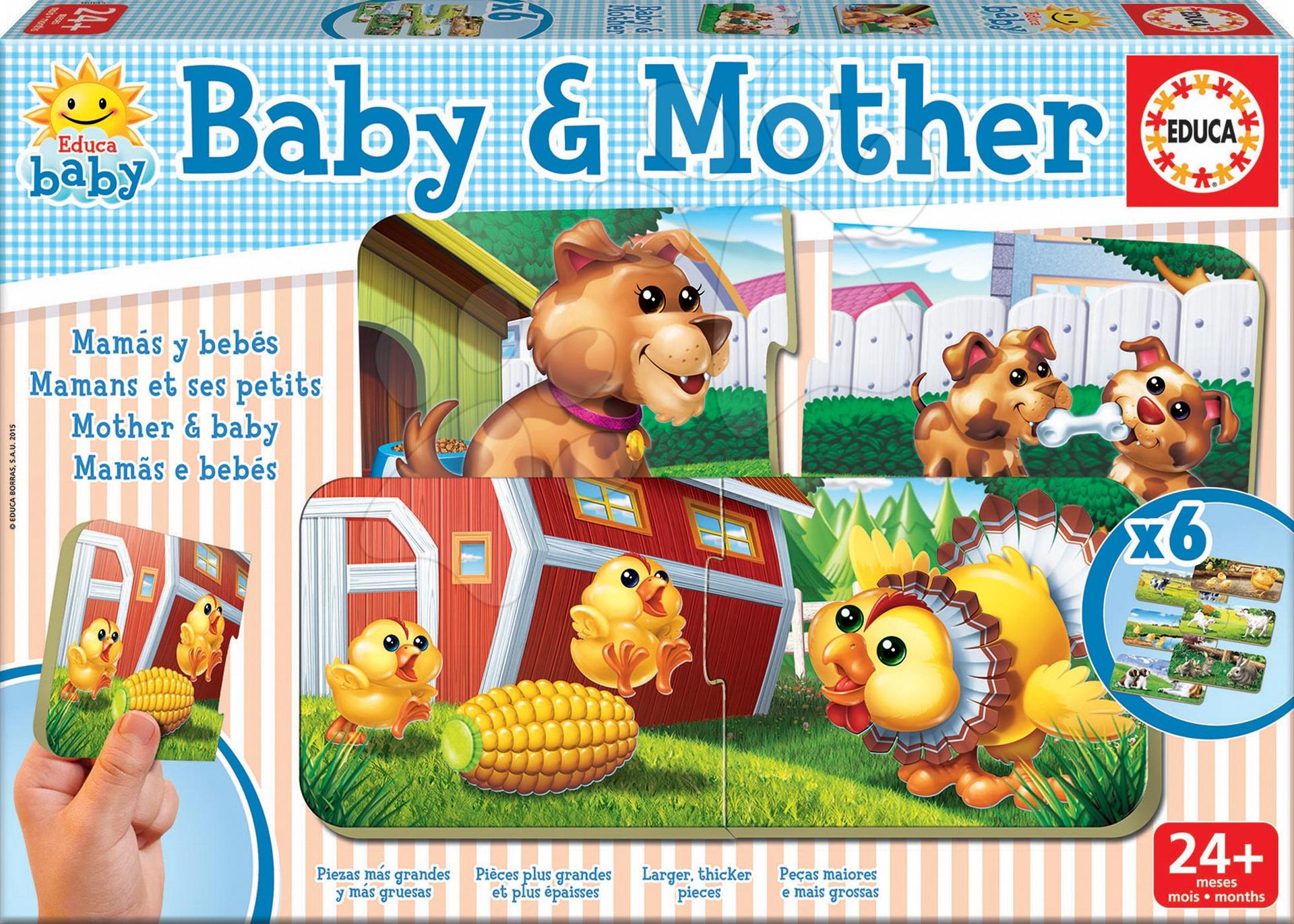 Puzzle pre najmenších - Puzzle Baby & Mother - Učíme sa nájsť bábätkám mamičku Educa 6x2 dieliky 6-obrázkové od 24 mes