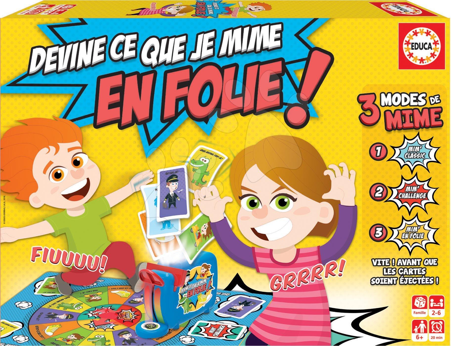 Spoločenská hra Devine Ce Que Je Mime En Folie! Educa francúzsky pre 2-6 hráčov od 6 rokov
