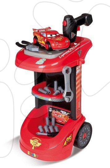 Pracovní vozík pro děti Auta Smoby s mechanickou vrtačkou, autem McQueen a 27 doplňky