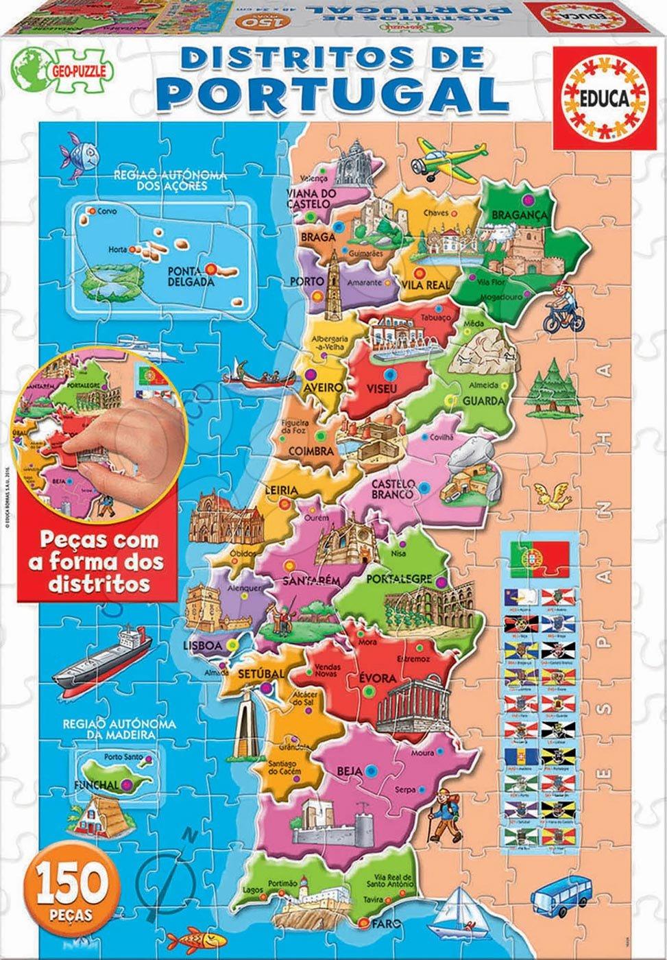 Puzzle Mapa Portugalska s monumentami Educa 150 dielov od 7 rokov