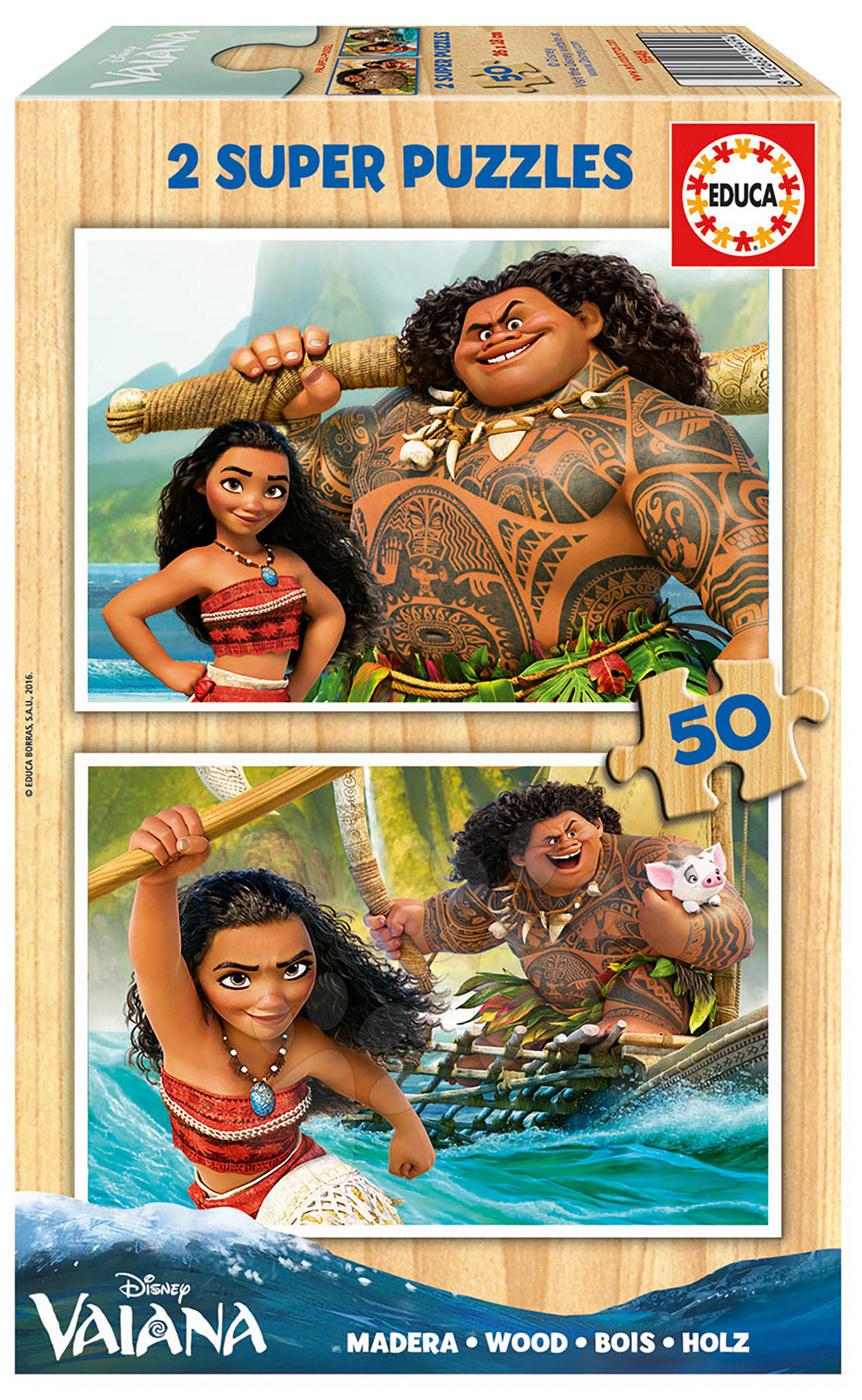 Drevené puzzle Vaiana Disney Educa 2x 50 dielov od 5 rokov