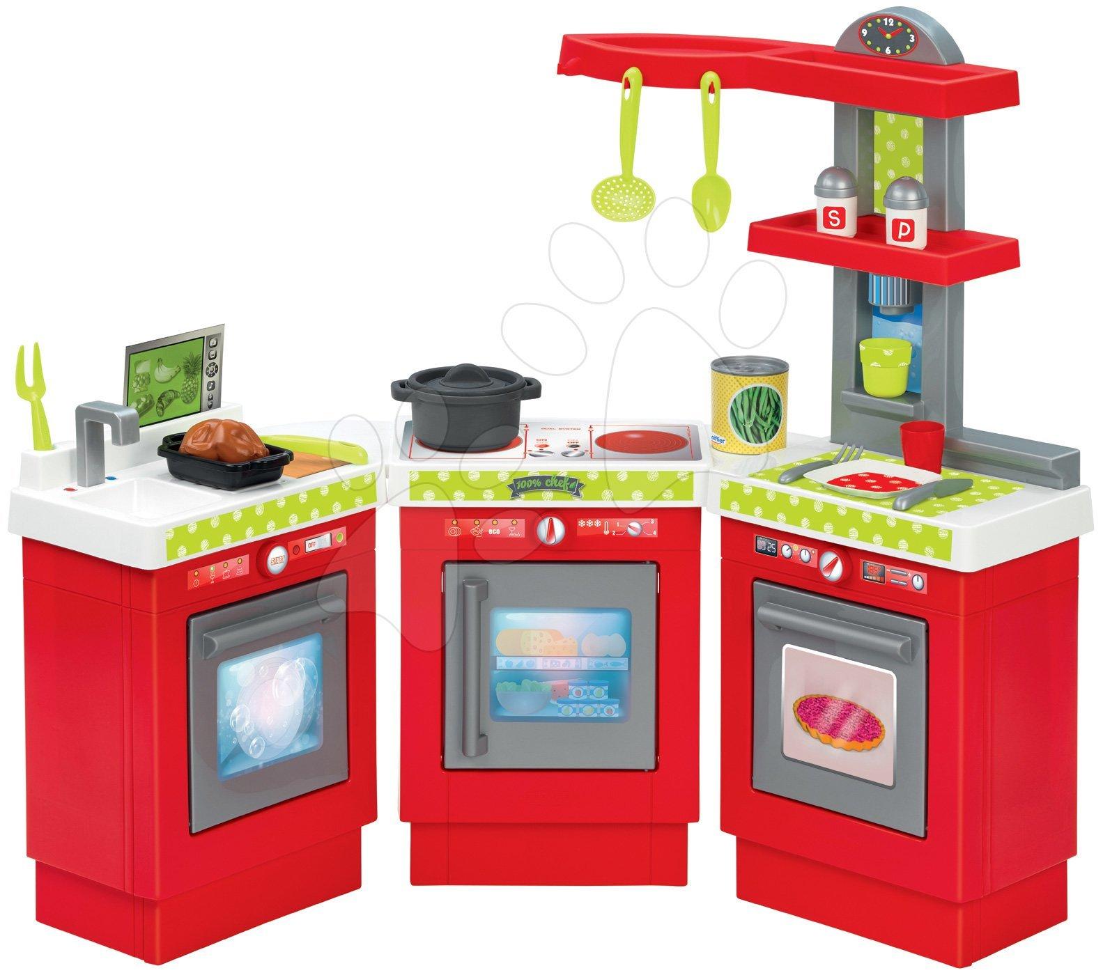 Obyčejné kuchyňky - Kuchyňka 3-Modules French Écoiffier 3dílná červeno-stříbrná s 21 doplňky od 18 měsíců