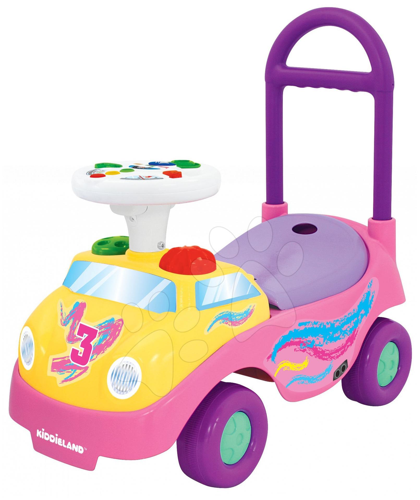 Odrážadlá so zvukom - Activity odrážadlo auto Kiddieland ružové so zvukom a svetlom