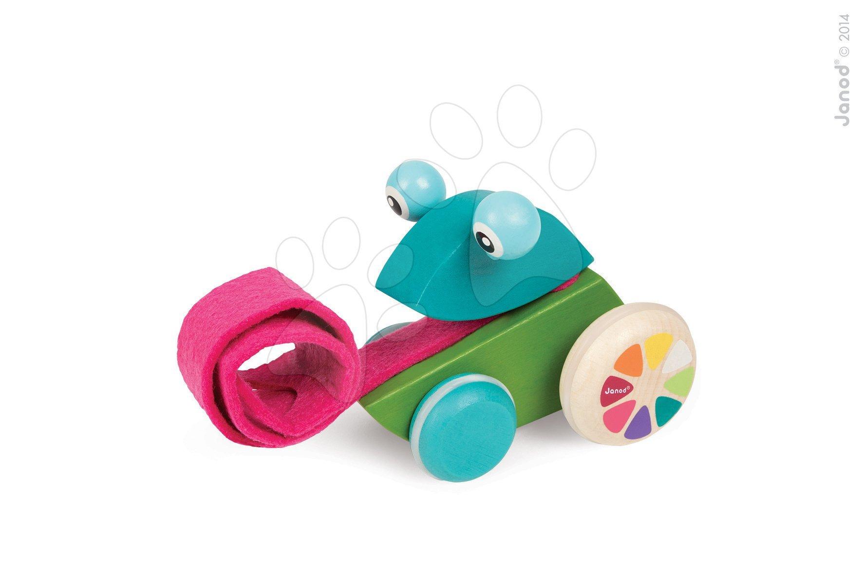 Ťahacie hračky - Drevená žaba Pull Along Janod na ťahanie od 12 mes