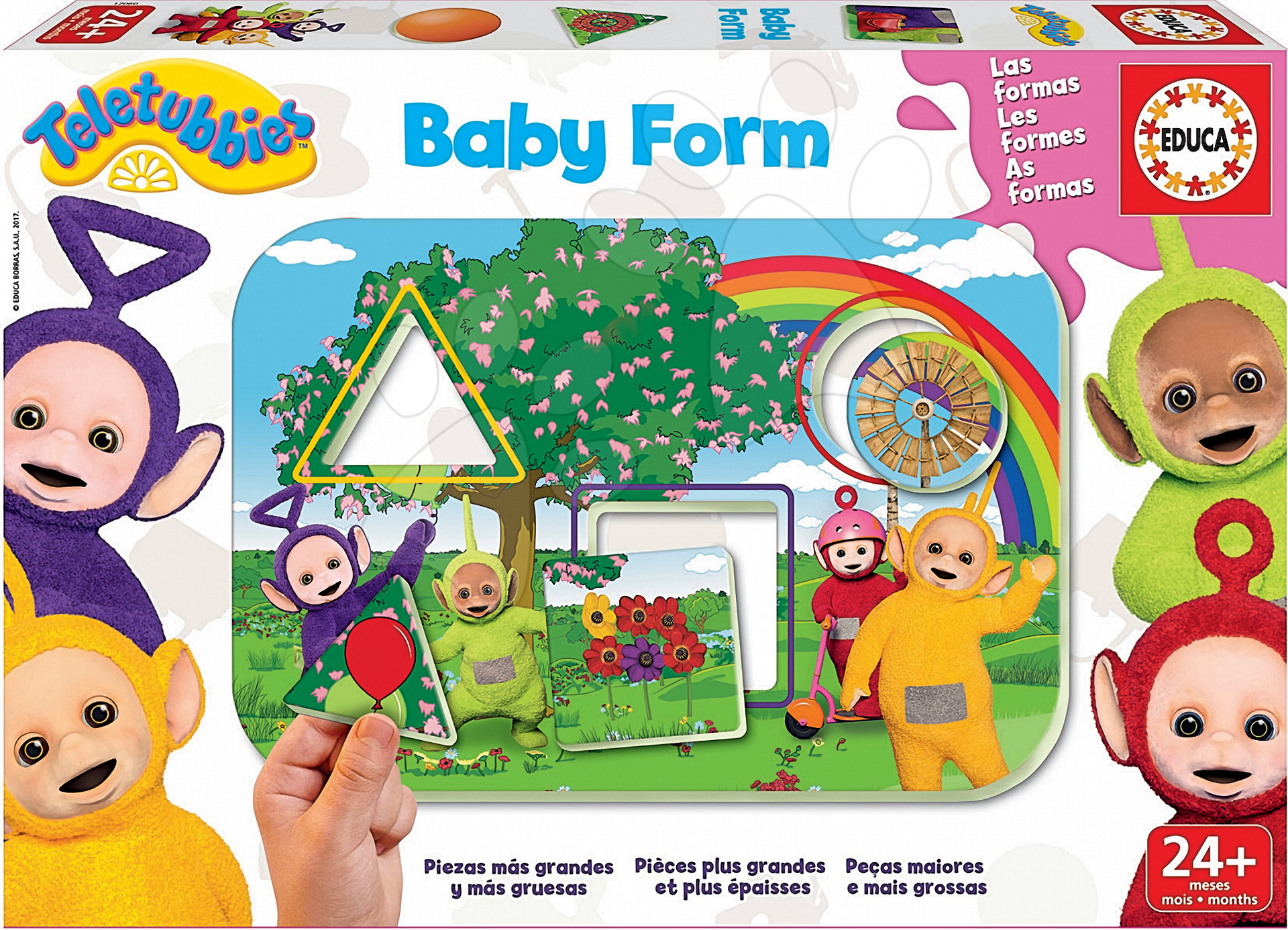 Puzzle Učíme se tvary Teletubbies Baby Form Educa 4 tabulky a 12 díllků od 24 měsíců
