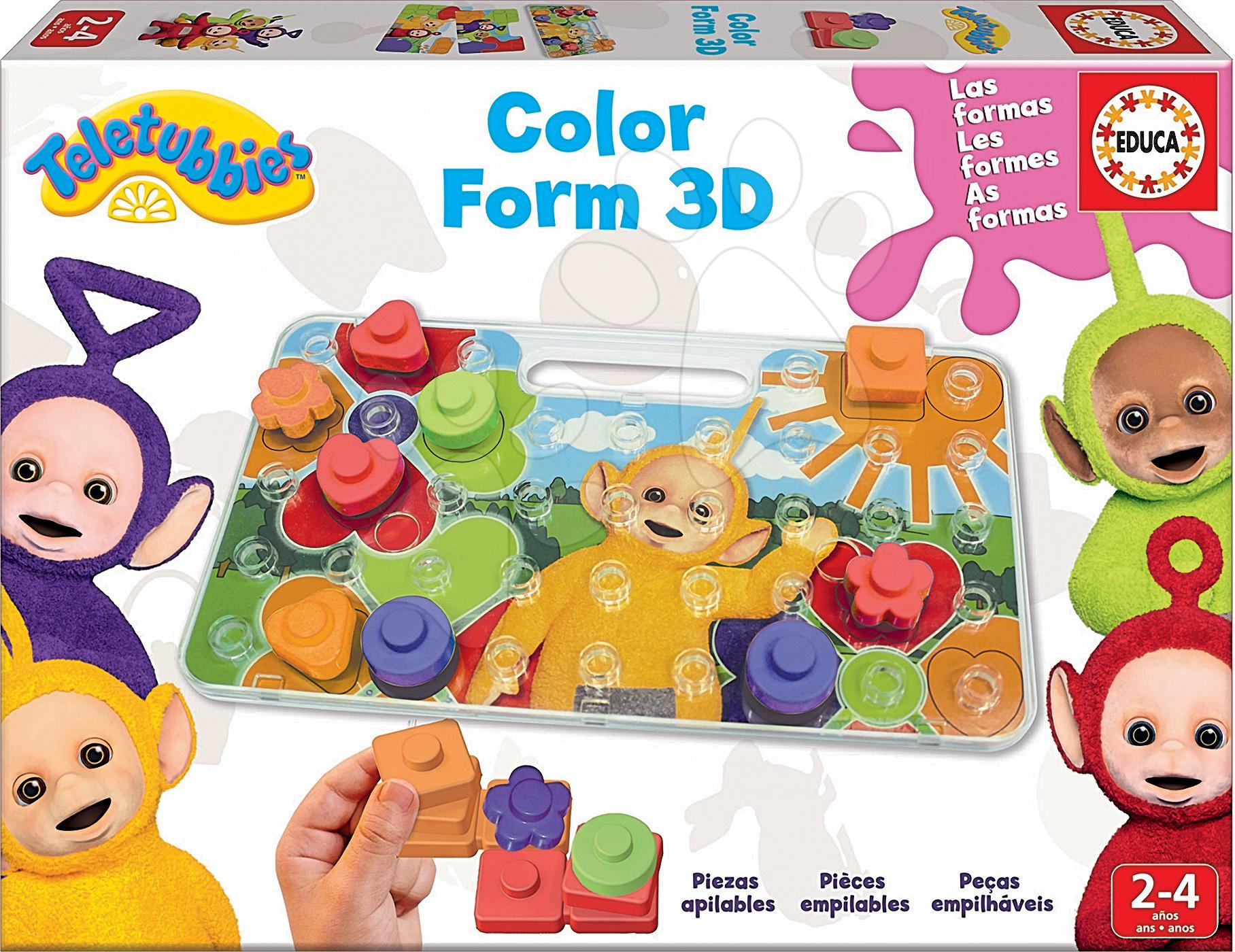 Puzzle Učíme se barvy a tvary Teletubbies 3D Educa 3D skládačka s kostakami od 24 měsíců
