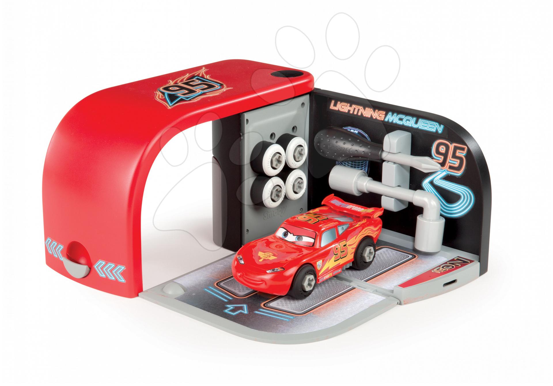 Dětská autodílna Auta Neotech Racers Smoby s nástroji a autem McQueen