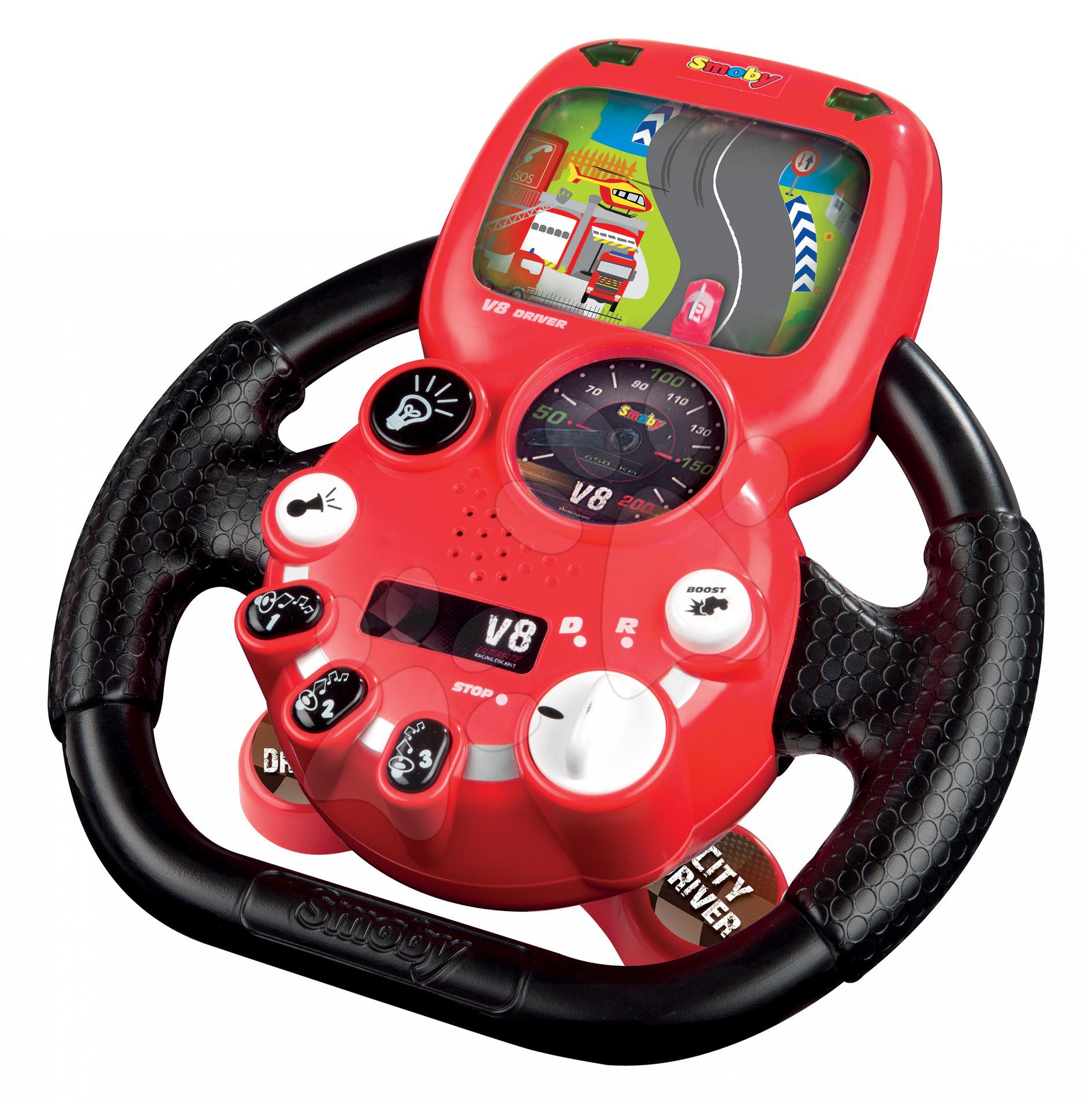 City Driver Trenažér autíčko volant elektrický Smoby se zvukem a světlem