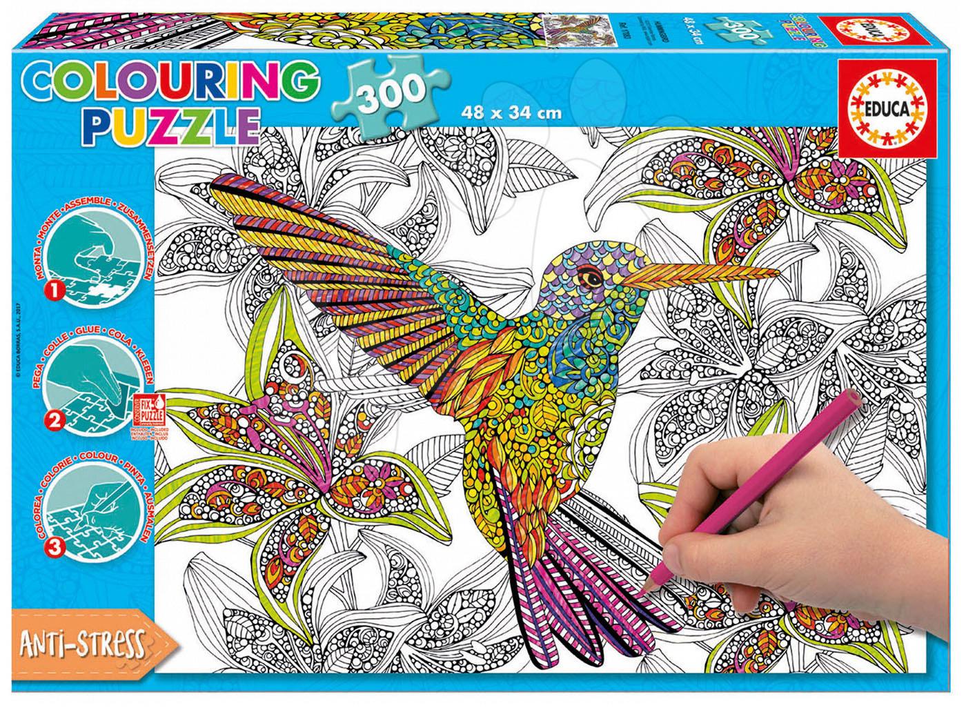 Puzzle Omalovánky Kolibřík Doodle Art Educa 300 dílů od 11 let