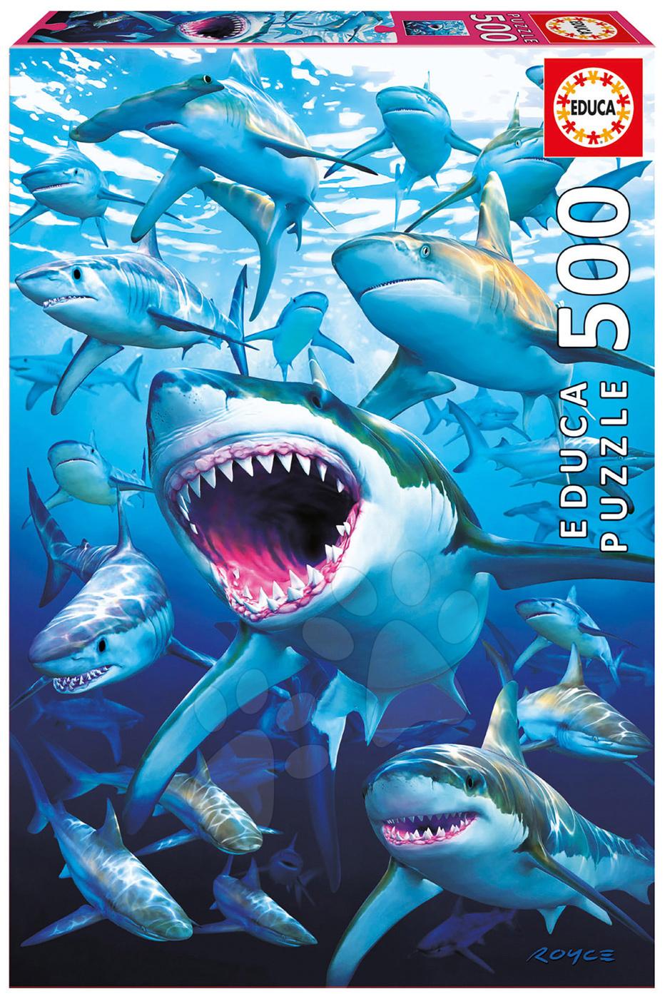 Puzzle Genuine Shark club Educa 500 dílků a Fix puzzle lepidlo od 11 let