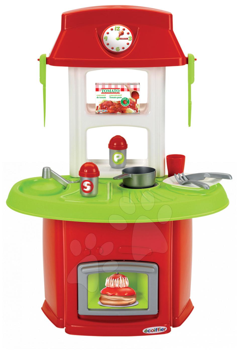 Obyčejné kuchyňky - Kuchyňka 100 % Chef Italian Écoiffier s 13 doplňky červeno-zelená od 18 měsíců