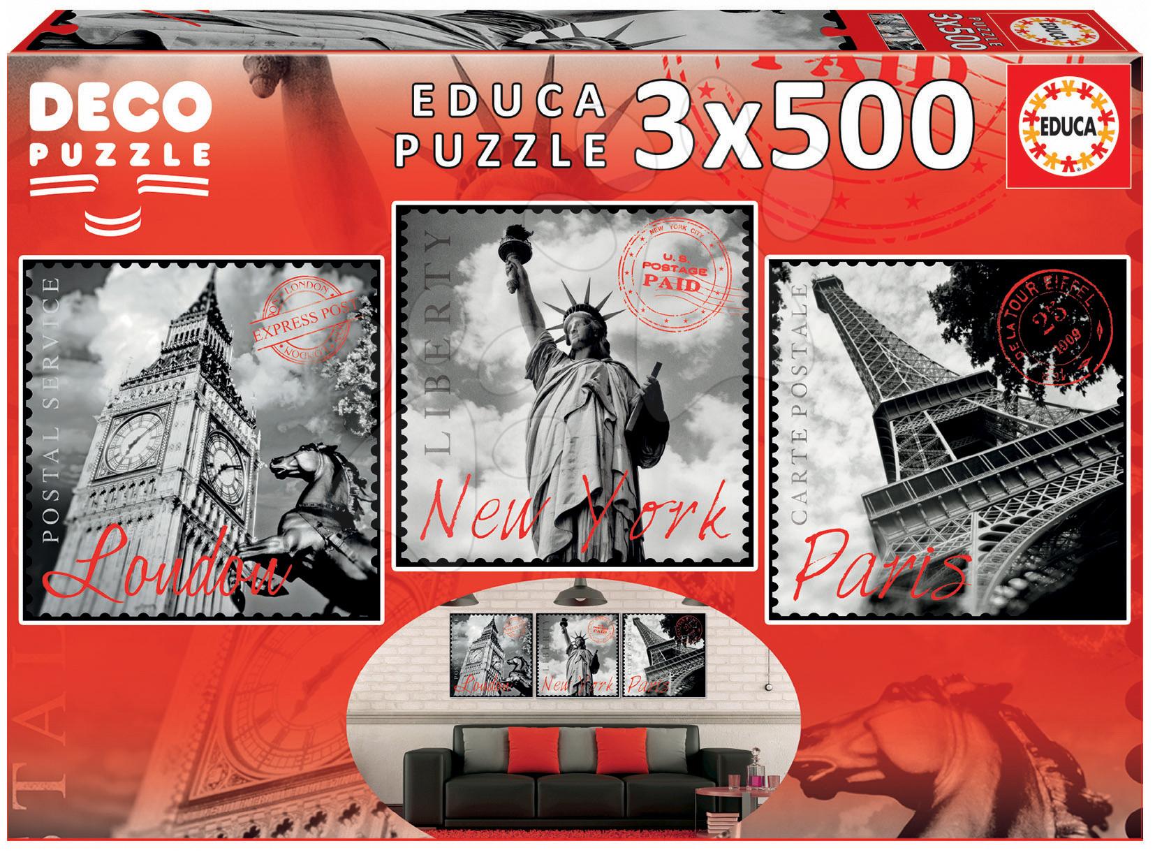 Educa puzzle Deco Big Cities 3x500 dielov 17096