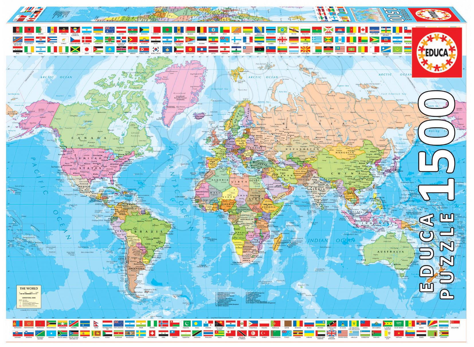 politicka mapa sveta Puzzle Politická mapa sveta Educa 1500 dielov politicka mapa sveta