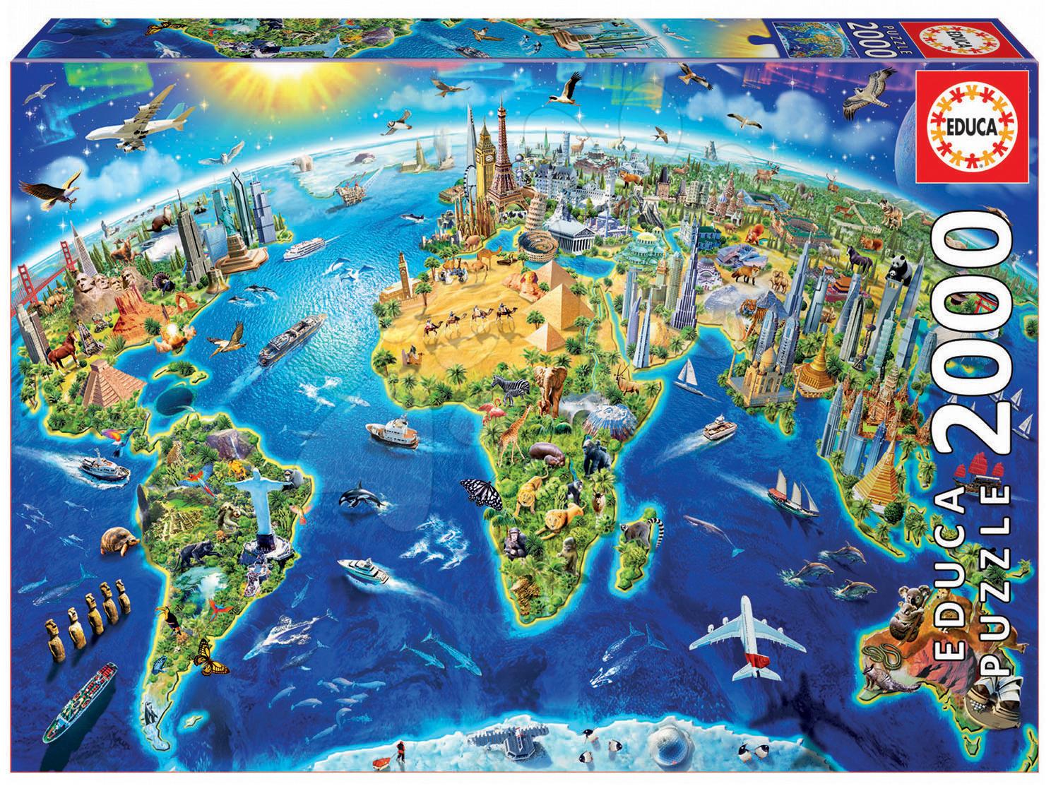 Educa puzzle Genuine World Landmarks Globe 2000 dielov 17129