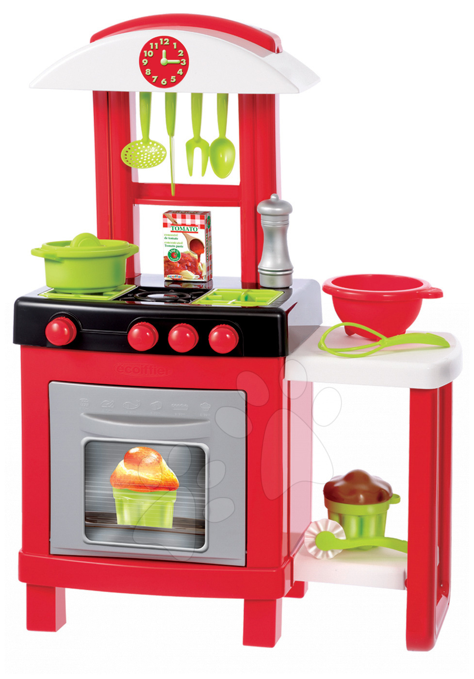 Običajne kuhinje - Kuhinja 100% Chef Pro Cook Écoiffier s pultom in 15 dodatki rdeča od 18 mes