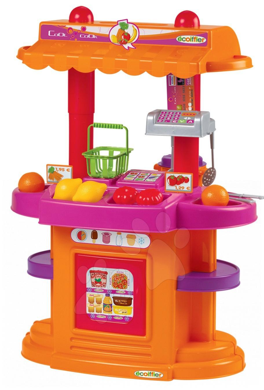 Obyčejné kuchyňky - Kuchyňka Bubble Cook s obchodem Écoiffier oboustranná oranžovo-fialová a 17 doplňků od 18 měsíců
