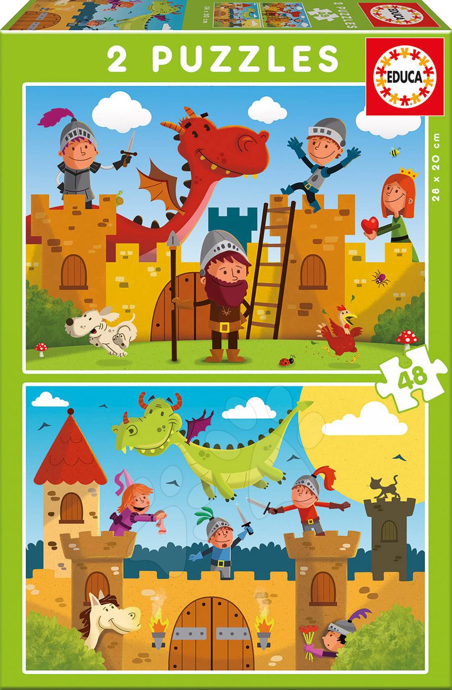 Pohádkové puzzle Drak a Rytíř Educa 2x48 dílů