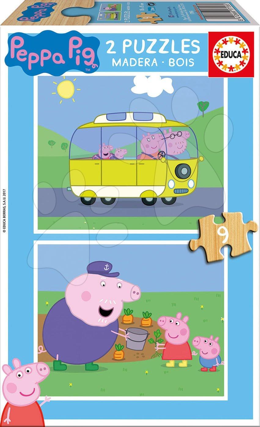 Drevené puzzle pre deti Peppa Pig Educa 2*9 dielov 17156