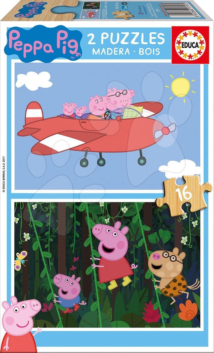 Educa drevené puzzle pre deti Peppa Pig 2*16 dielov