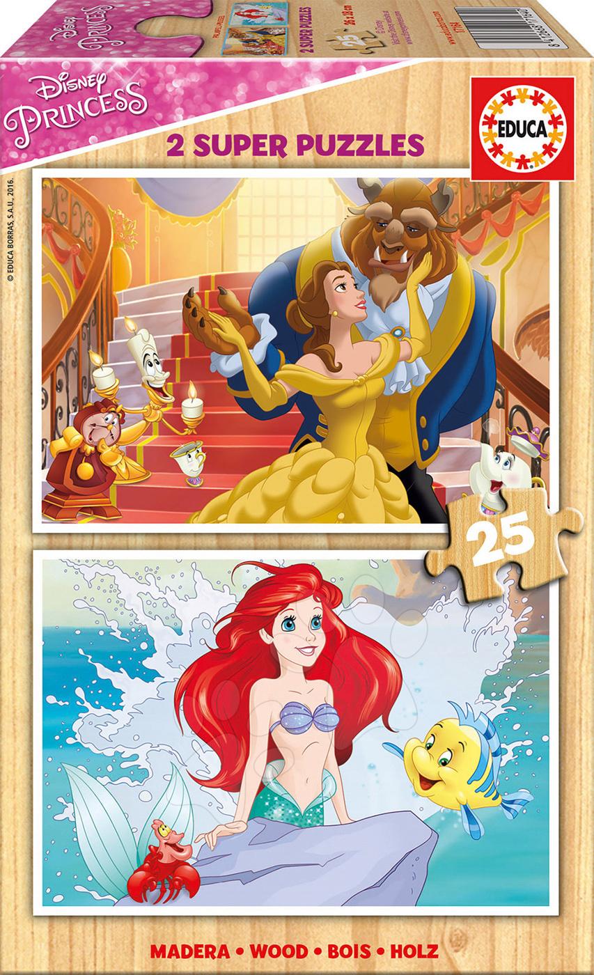Educa detské drevené puzzle Disney Princezné 17164