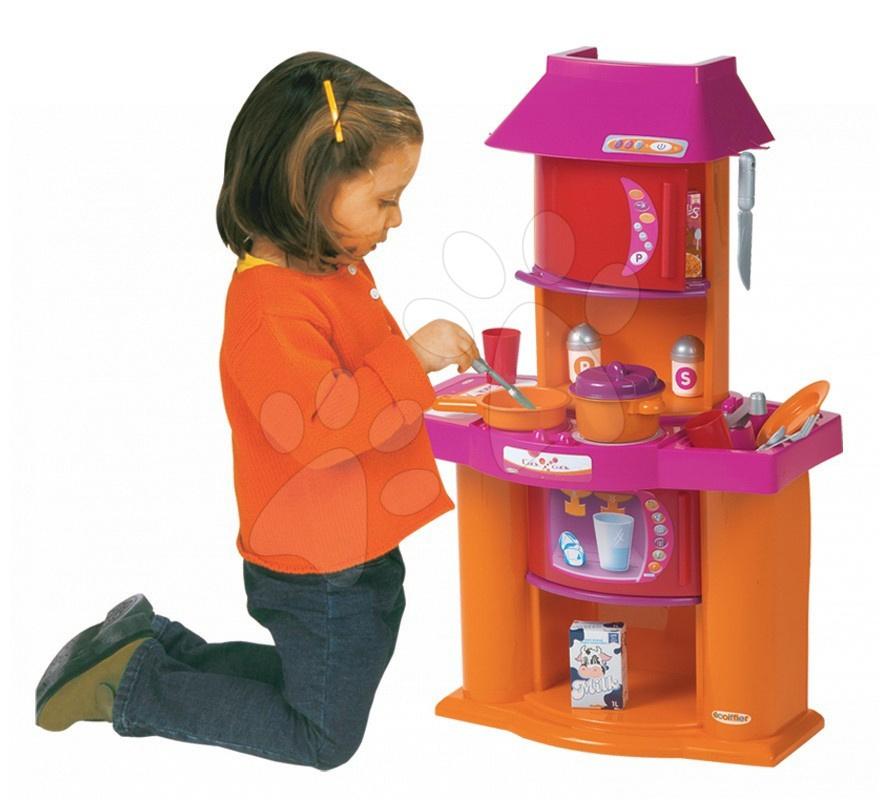 Obyčejné kuchyňky - Kuchyňka Super Shop Écoiffier s 19 doplňky oranžovo-růžová od 18 měsíců