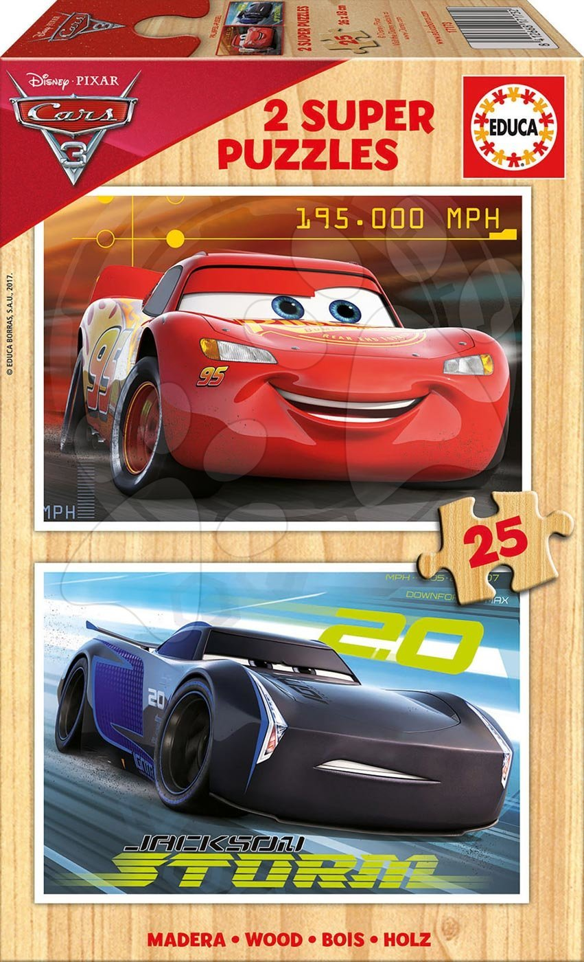 Dřevěné puzzle Auta 3 Educa 2x25 dílů od 4 let