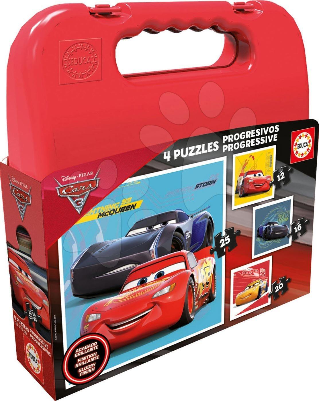 Puzzle v kufříku Cars 3 Educa progresivní, 12-16-20-25 dílků