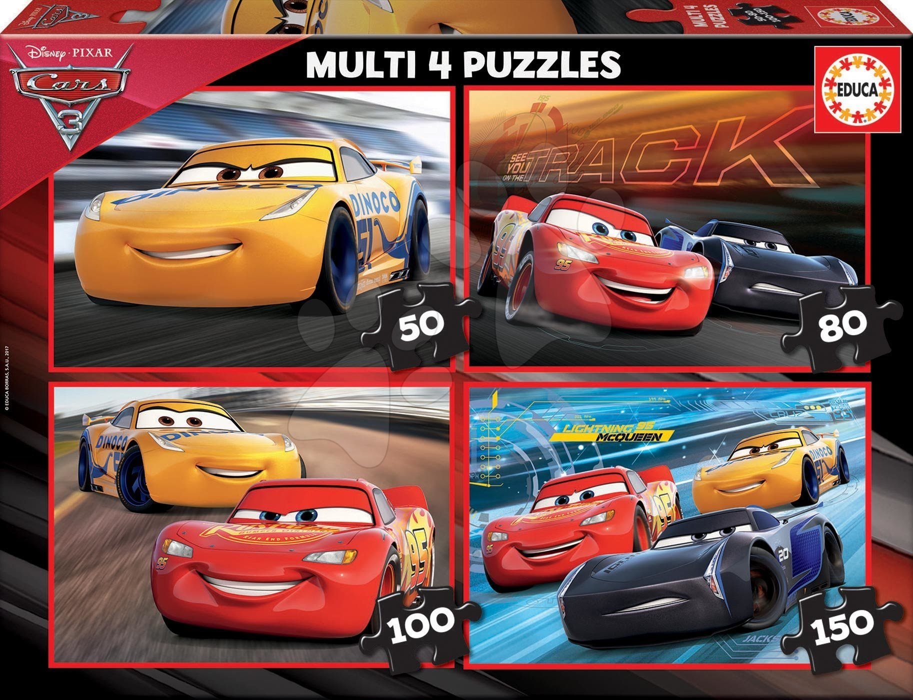 Puzzle Cars 3 Multi 4 Educa 50-80-100-150 dielov od 7 rokov