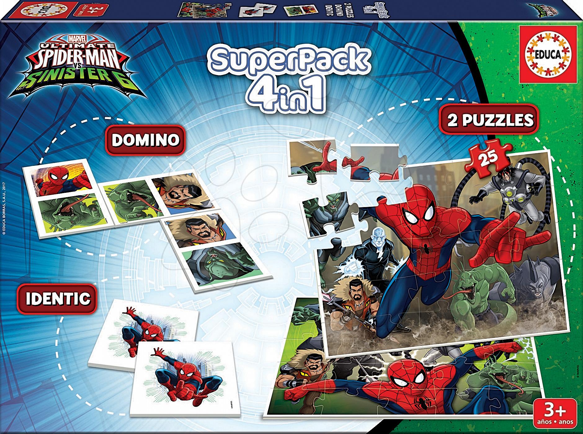 Puzzle Spiderman SuperPack 4v1 Educa 2x puzzle, 1x domino a pexeso