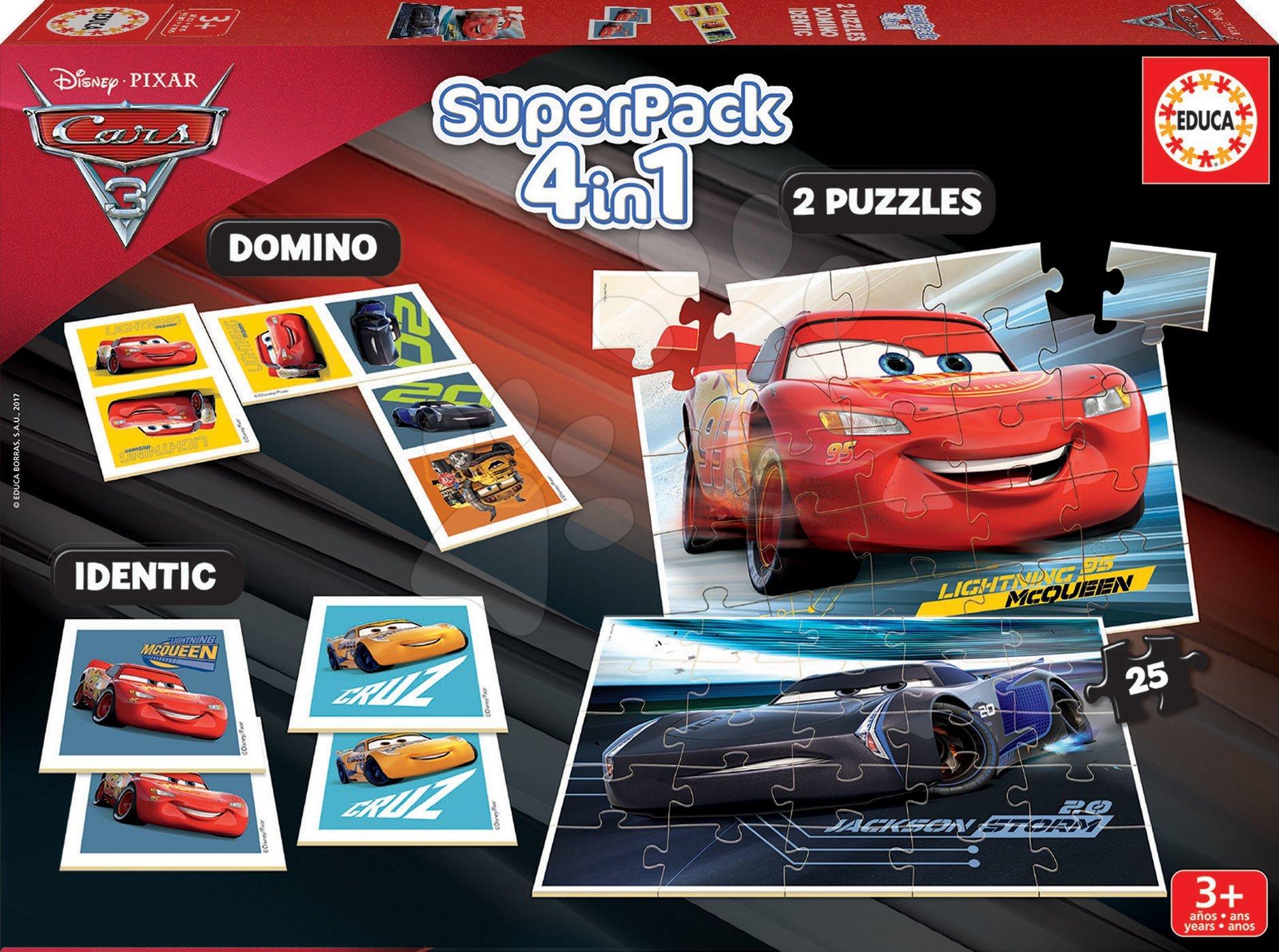 Puzzle Cars 3 SuperPack 4 v 1 Educa 2x domino, puzzle, pexeso