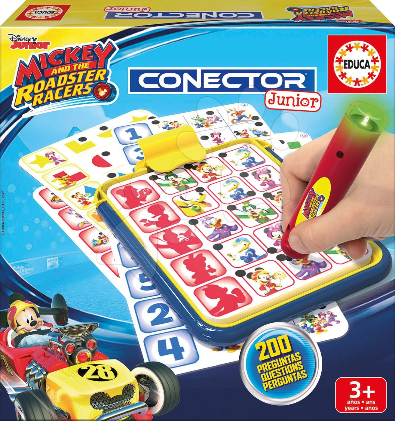 Společenská hra Mickey and the roadster racers Conector junior Educa 40 karet a 200 otázek a inteligentní pero